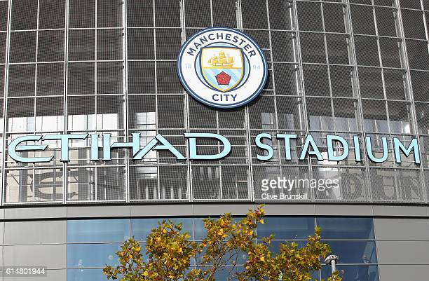 A general view outside the ground prior to the Premier League match between Manchester City and Everton at Etihad Stadium on October 15 2016 in...