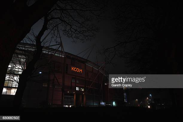A general view outside the ground prior to the Premier League match between Hull City and Everton at KCOM Stadium on December 30 2016 in Hull England