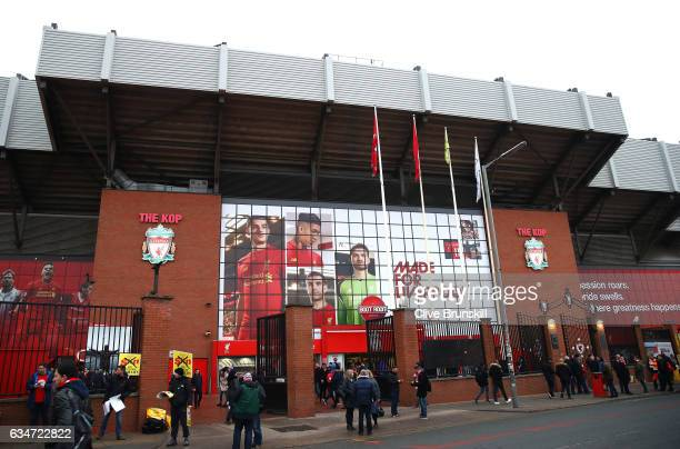 A general view outside the ground prior to the Premier League match between Liverpool and Tottenham Hotspur at Anfield on February 11 2017 in...