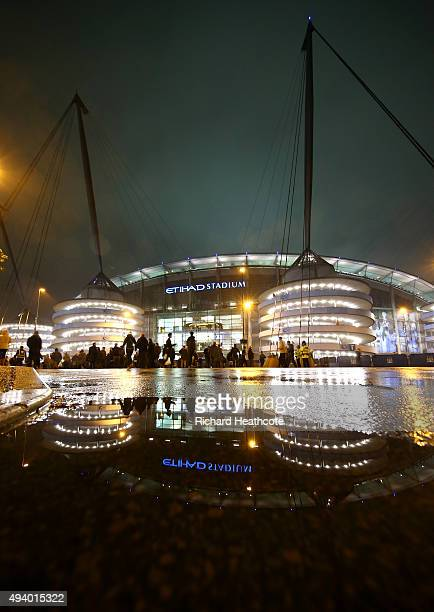 A general view outside the ground prior to the UEFA Champions League Group D match between Manchester City and Sevilla at Etihad Stadium on October...