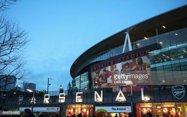 A general view outside the ground prior to the UEFA Champions League Round of 16 second leg match between Arsenal FC and FC Bayern Muenchen at...