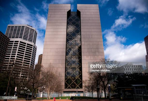 General view outside the Hennepin County Government Center as the murder trial of Derek Chauvin goes on inside on April 14, 2021 in Minneapolis,...