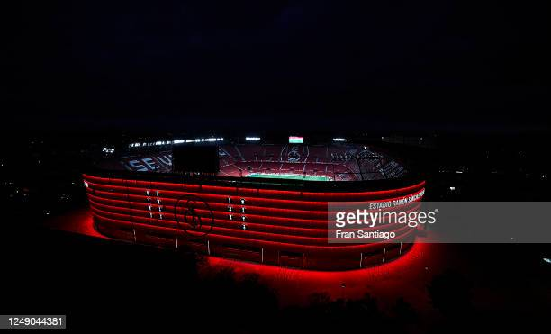 General view outside the illuminated stadium during the Liga match between Sevilla FC and Real Betis at Ramon Sanchez Pizjuan on June 11, 2020 in...