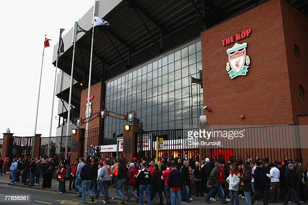 General view outside The Kop prior to the Barclays Premier League match between Liverpool and Fulham at Anfield on November 10 2007 in Liverpool...