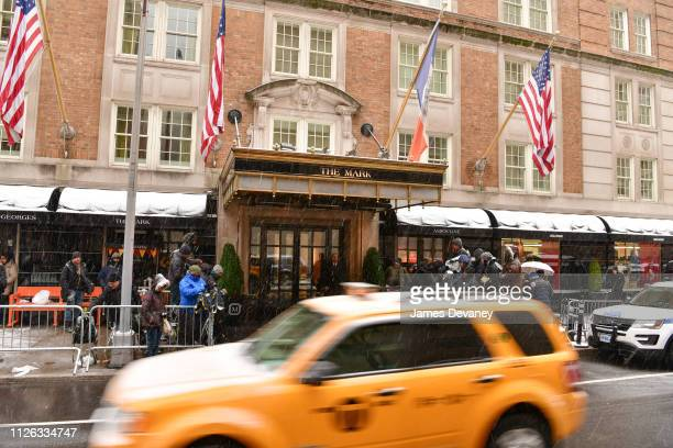 General view outside The Mark Hotel for Meghan Duchess of Sussex's baby shower on February 20 2019 in New York City
