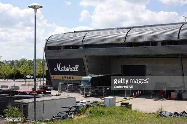 General view outside the Marshall Arena at Stadium MK, where Championship League snooker will take place behind closed doors starting this afternoon...