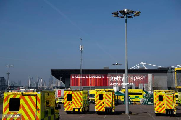 A general view outside the NHS nightingale hospital at the Excel on April 10 2020 in London England Public Easter events have been cancelled across...