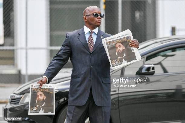 General view outside the Nipsey Hussle memorial at the STAPLES Center on April 11 2019 in Los Angeles California