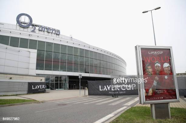 A general view outside the O2 Arena ahead of the Laver Cup on September 19 2017 in Prague Czech Republic The Laver Cup consists of six European...