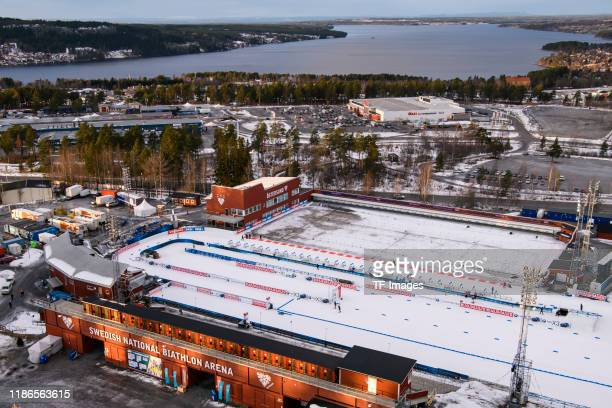 General view outside the Oestersund Biathlon Arena during the Women 15 km Individual Competition at the BMW IBU World Cup Biathlon Oestersund at on...