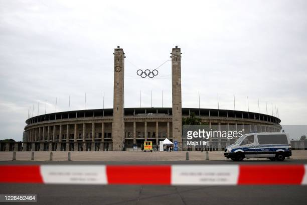 A general view outside the Olympiastadion prior to the Bundesliga match between Hertha Berlin and Union Berlin during the coronavirus crisis on May...