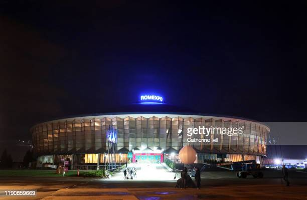 General view outside The Romexpo, venue for Saturday's UEFA Euro 2020 Final Draw Ceremony on November 29, 2019 in Bucharest, Romania.