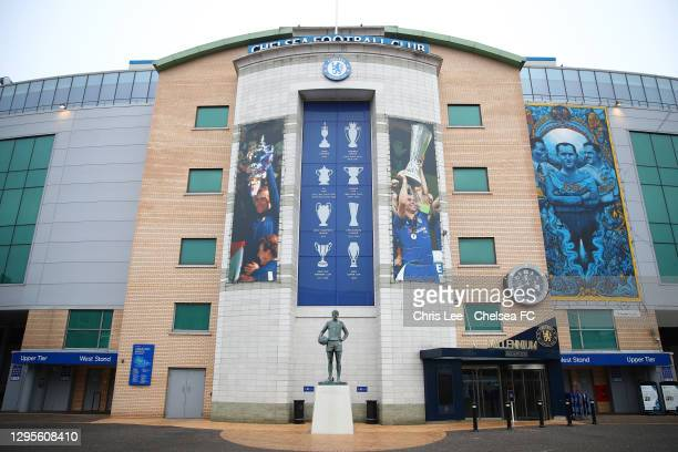 General view outside the stadium ahead of the FA Cup Third Round match between Chelsea and Morecambe at Stamford Bridge on January 10, 2021 in...