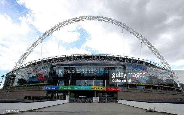General view outside the stadium ahead of The Heads Up FA Cup Final match between Arsenal and Chelsea at Wembley Stadium on August 01, 2020 in...