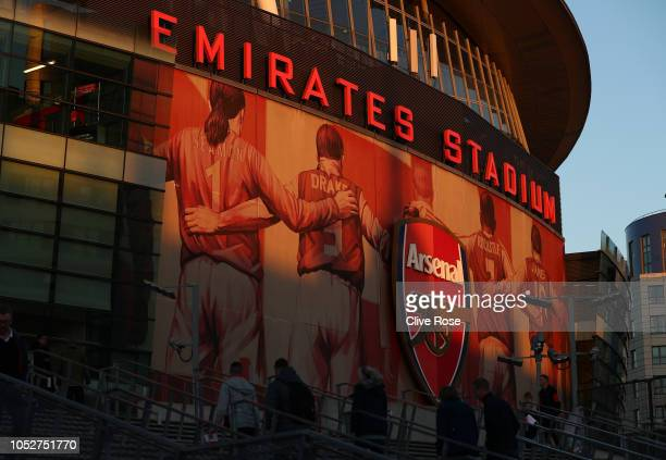 General view outside the stadium ahead of the Premier League match between Arsenal FC and Leicester City at Emirates Stadium on October 22, 2018 in...