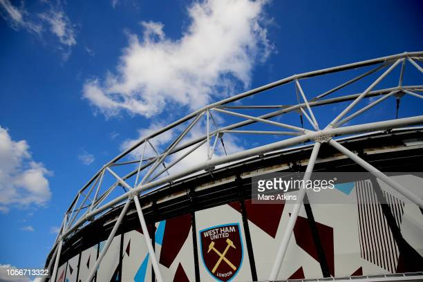 General view outside the stadium ahead of the Premier League match between West Ham United and Burnley FC at London Stadium on November 3 2018 in...