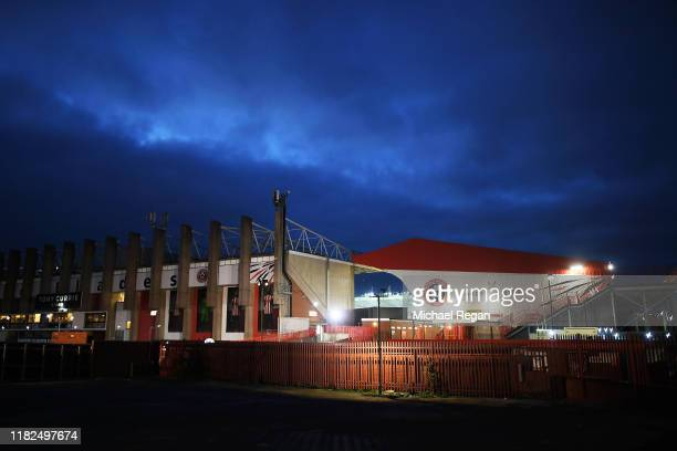 General view outside the stadium ahead of the Premier League match between Sheffield United and Arsenal FC at Bramall Lane on October 21, 2019 in...