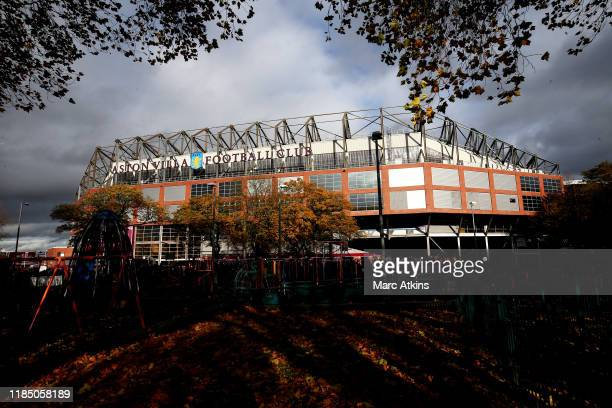General view outside the stadium ahead of the Premier League match between Aston Villa and Liverpool FC at Villa Park on November 02 2019 in...