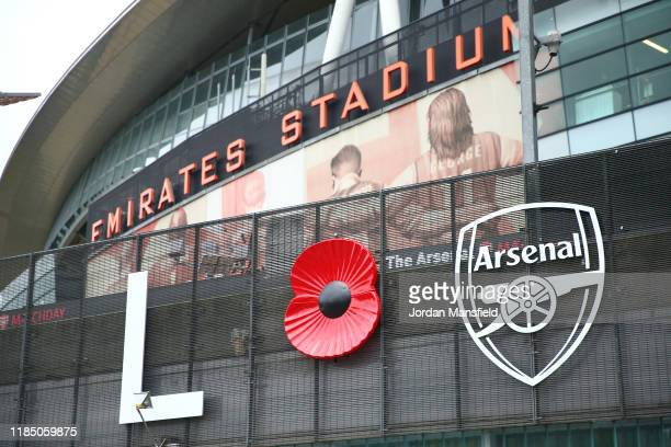 General view outside the stadium ahead of the Premier League match between Arsenal FC and Wolverhampton Wanderers at Emirates Stadium on November 02,...