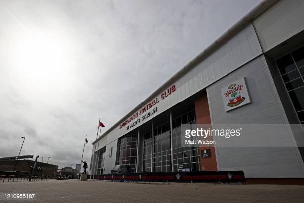 General view outside the stadium ahead of the Premier League match between Southampton FC and Newcastle United at St Mary's Stadium on March 07, 2020...