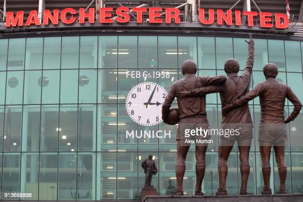 General view outside the stadium ahead of the Premier League match between Manchester United and Huddersfield Town at Old Trafford on February 3 2018...