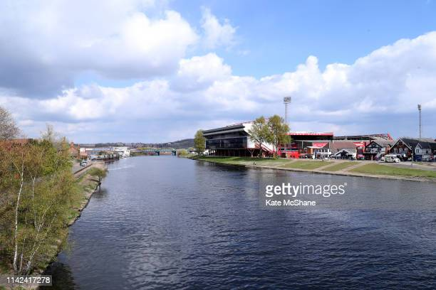 A general view outside the stadium ahead of the Sky Bet Championship match between Nottingham Forest and Blackburn Rovers at City Ground on April 13...