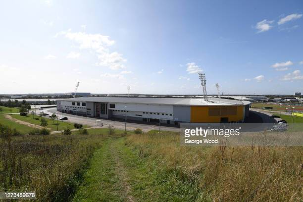 A general view outside the stadium ahead of the Sky Bet League Two match between Harrogate Town and Walsall at The Keepmoat Stadium on September 19...