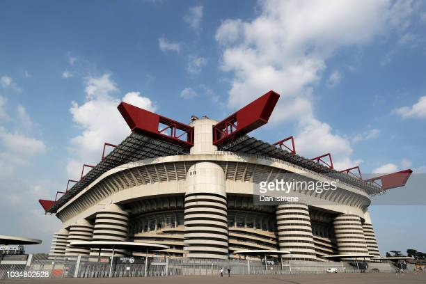 A general view outside the stadium ahead of the Tottenham Hotspur press conference at San Siro Stadium on September 17 2018 in Milan Italy