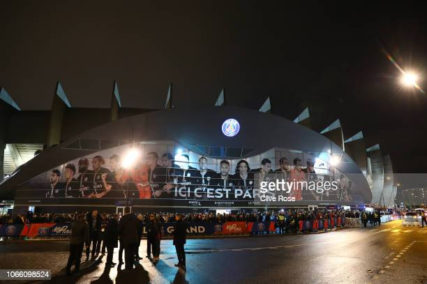 General view outside the stadium ahead of the UEFA Champions League Group C match between Paris SaintGermain and Liverpool at Parc des Princes on...