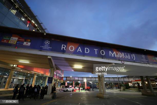 General view outside the stadium ahead of the UEFA Champions League Round of 16 Second Leg match between FC Barcelona and Olympique Lyonnais at Nou...