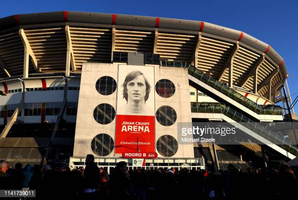 A general view outside the stadium ahead of the UEFA Champions League Quarter Final first leg match between Ajax and Juventus at Johan Cruyff Arena...