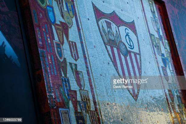 General view outside the stadium ahead of the UEFA Champions League Group E stage match between FC Sevilla and Chelsea FC at Estadio Ramon Sanchez...