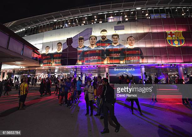 A general view outside the stadium ahead of the UEFA Champions League group C match between FC Barcelona and Manchester City FC at Camp Nou on...
