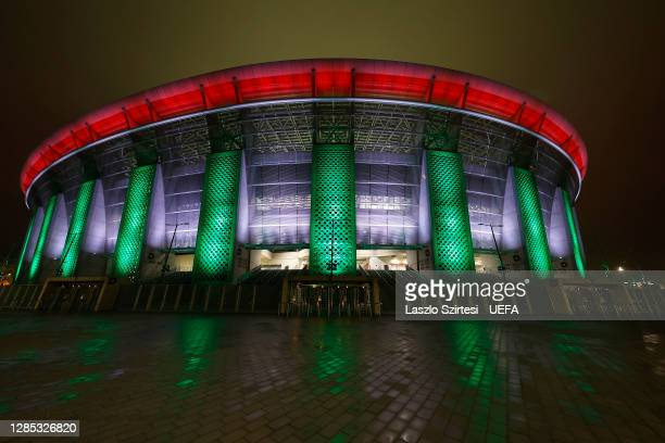 General view outside the stadium ahead of the UEFA EURO 2020 Play-Off Final between Hungary and Iceland at Puskas Arena on November 12, 2020 in...