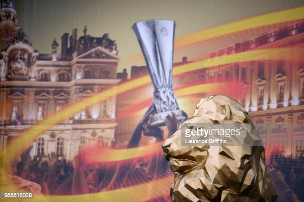 A general view outside the stadium ahead of the UEFA Europa League Final between Olympique de Marseille and Club Atletico de Madrid at Stade de Lyon...