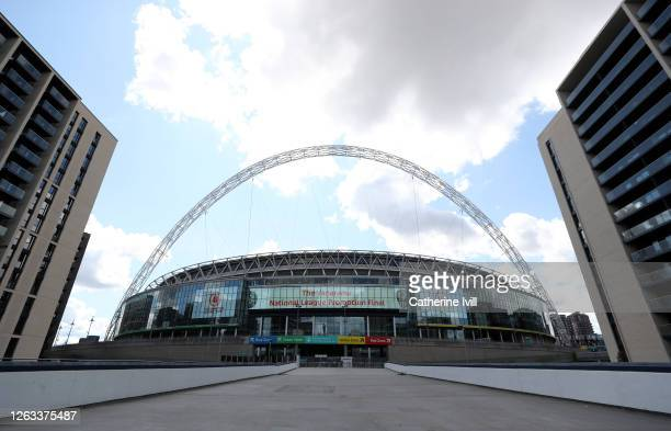 General view outside the stadium ahead of the Wembley Stadium on August 02, 2020 in London, England.