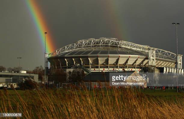 General view outside the stadium as a rainbow is seen in the distance prior to the UEFA Europa League Round of 16 First Leg match between Ajax and...