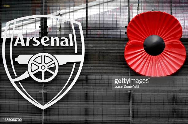 General view outside the stadium as a Remembrance Poppy is seen on the side of the stadium ahead of the Premier League match between Arsenal FC and...
