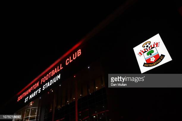 General view outside the stadium as fans arrive ahead of the Premier League match between Southampton FC and West Ham United at St Mary's Stadium on...