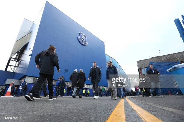 General view outside the stadium as fans arrive ahead of the Premier League match between Everton FC and West Ham United at Goodison Park on October...