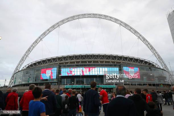 General view outside the stadium as fans arrive ahead of the UEFA Nations League A group four match between England and Spain at Wembley Stadium on...