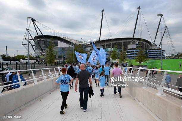 General view outside the stadium as fans arrive at the stadium prior to the Premier League match between Manchester City and Newcastle United at...