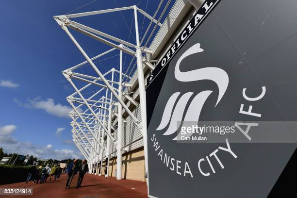 General view outside the stadium as fans arrive at the stadium prior to the Premier League match between Swansea City and Manchester United at...