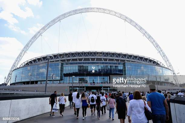 General view outside the stadium as fans arrive at the stadium prior to the Premier League match between Tottenham Hotspur and Burnley at Wembley...