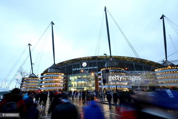 General view outside the stadium as fans arrive at the stadium prior to the Premier League match between Manchester City and Leicester City at Etihad...