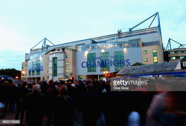 General view outside the stadium as fans arrive prior to the Carabao Cup Third Round match between Chelsea and Nottingham Forest at Stamford Bridge...