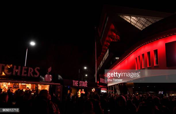 General view outside the stadium as fans arrive prior to the Carabao Cup semifinal second leg match between Bristol City and Manchester City at...