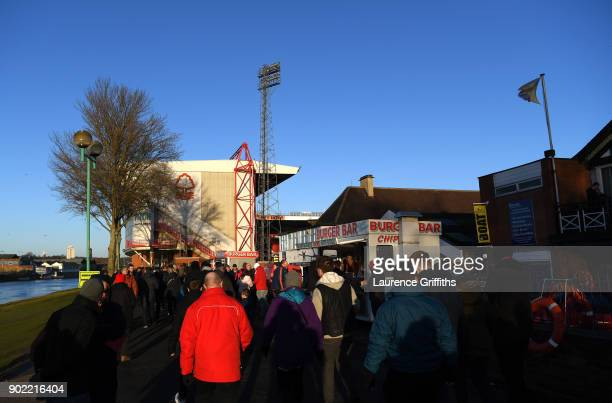 General view outside the stadium as fans arrive prior to The Emirates FA Cup Third Round match between Nottingham Forest and Arsenal at City Ground...