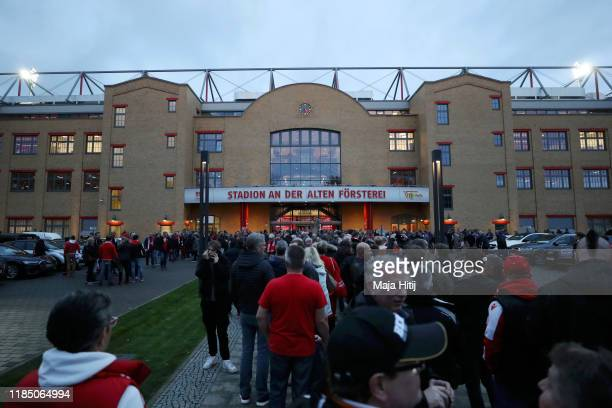 General view outside the stadium as fans arrive prior to the Bundesliga match between 1. FC Union Berlin and Hertha BSC at Stadion An der Alten...