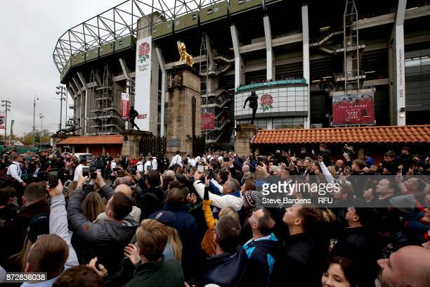 General view outside the stadium as fans arrive prior to the Old Mutual Wealth Series match between England and Argentina at Twickenham Stadium on...